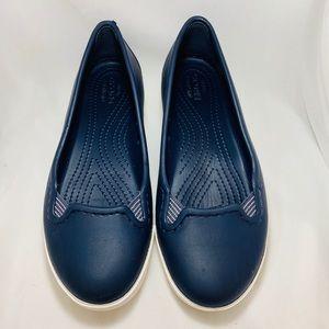 Women's Navy Slip-on Crocs-Size 4